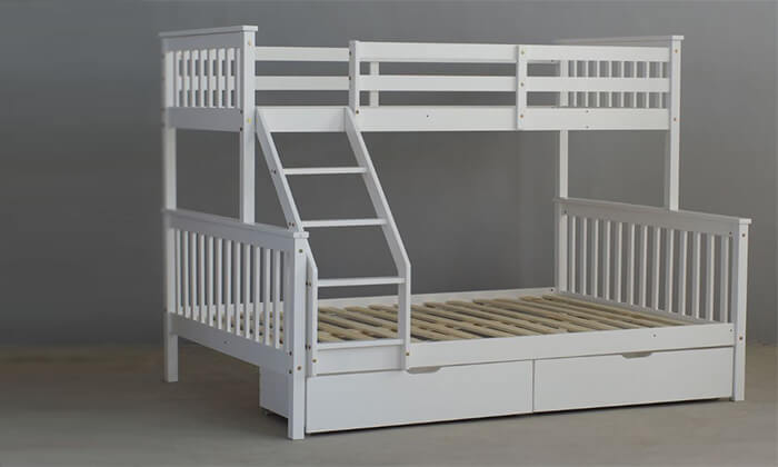 4 מיטת קומותיים מעץ מלא BRADEX