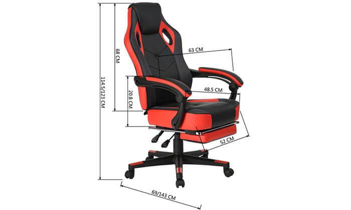 3 כסא גיימרים מתכוונן עם הדום נשלף