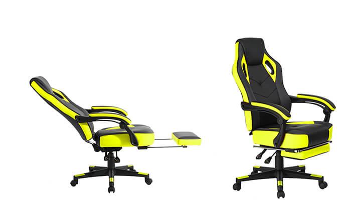 4 כסא גיימרים מתכוונן עם הדום נשלף