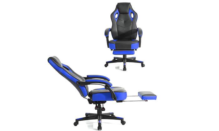 2 כסא גיימרים מתכוונן עם הדום נשלף