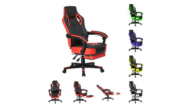 8 כסא גיימרים מתכוונן עם הדום נשלף