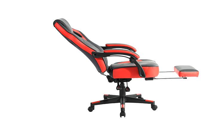 9 כסא גיימרים מתכוונן עם הדום נשלף