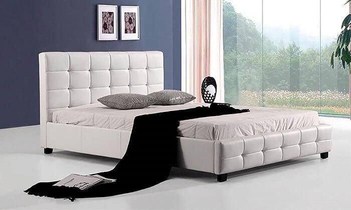 3 מיטה זוגית בריפוד דמוי עור HOME DECOR