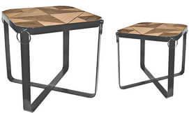 שולחן מרובע משולב עץ ומתכת