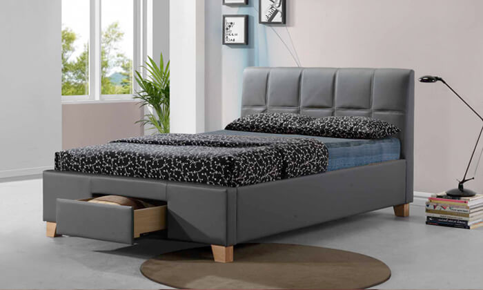 6 שמרת הזורע: מיטה זוגית מרופדת עם מגירת אחסון