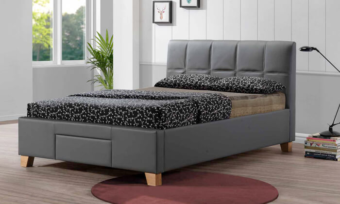 13 שמרת הזורע: מיטה זוגית מרופדת עם מגירת אחסון