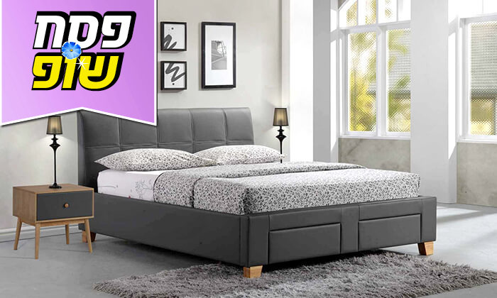 2 שמרת הזורע: מיטה זוגית מרופדת עם מגירת אחסון
