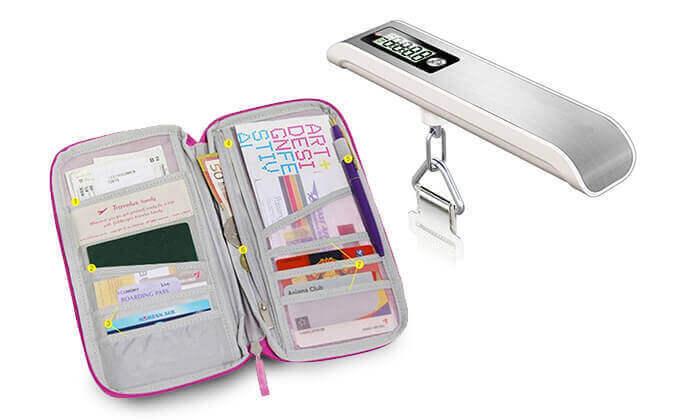 5 משקל, אירגונית מסמכים ותאי רשת לחלוקת מזוודה