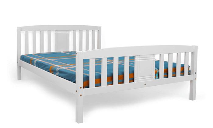 5 מיטה זוגית DEYA מעץ אורן מלא עם אפשרות למזרן BRADEX