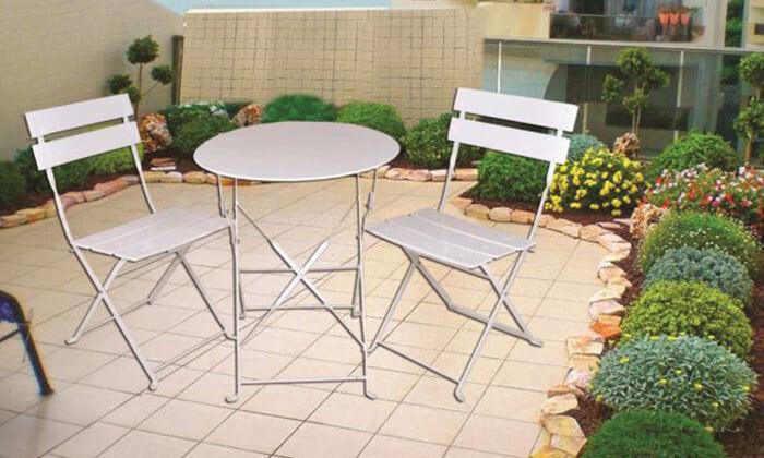 2 סט שולחן גינה ביסטרוושני כיסאות