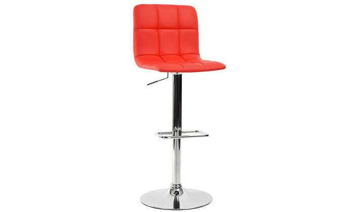 2 כסא בר בריפוד דמוי עור