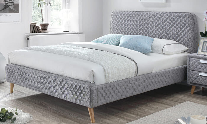 4 מיטה זוגית בריפוד בד תלת מימד HOME DECOR