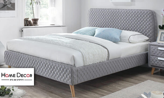 2 מיטה זוגית בריפוד בד תלת מימד HOME DECOR