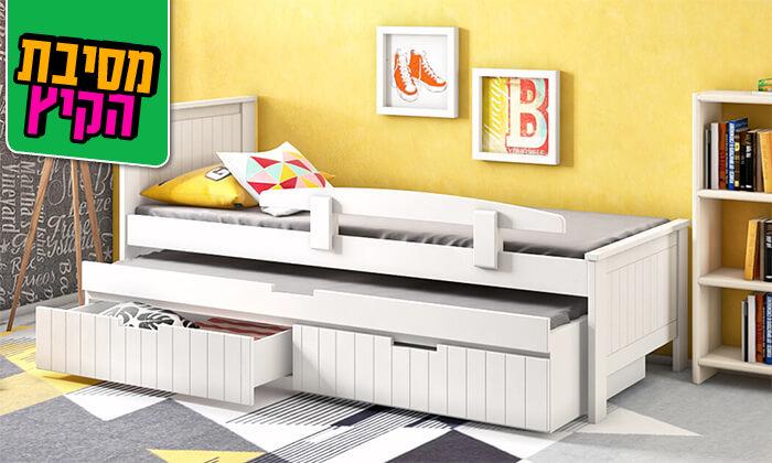 4 שמרת הזורע: מיטת ילדים משולבת עץ מלא