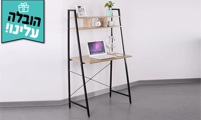 2  שולחן מחשב עם מדף עליון מחולק - הובלה חינם!