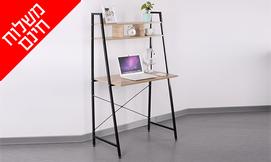 שולחן מחשב עם מדף עליון מחולק