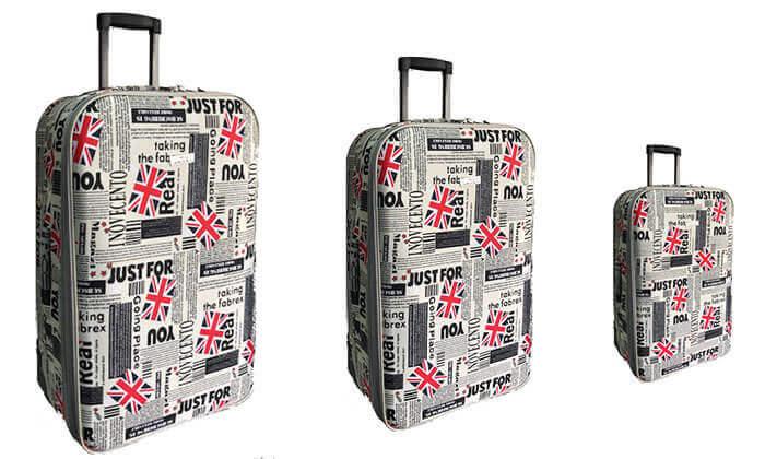 3 מזוודות מעוצבות בגדלים שונים