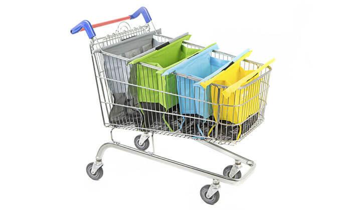 3 שני תיקי קניות Trolley Bags המקורי המתלבש בתוך עגלת הקניות הנפתחים ל4 תאים בכל תיק
