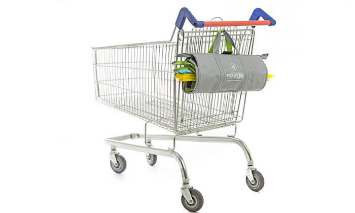 4 שני תיקי קניות Trolley Bags המקורי המתלבש בתוך עגלת הקניות הנפתחים ל4 תאים בכל תיק