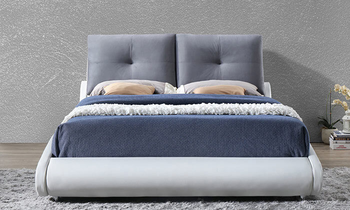 4 מיטה זוגית מרופדת בעיצוב מעוגל HOME DECOR