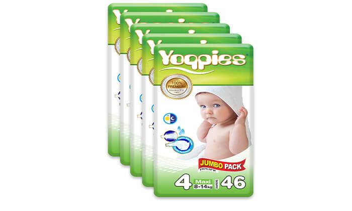 4 5 חבילות חיתולי פרמיום yoppies