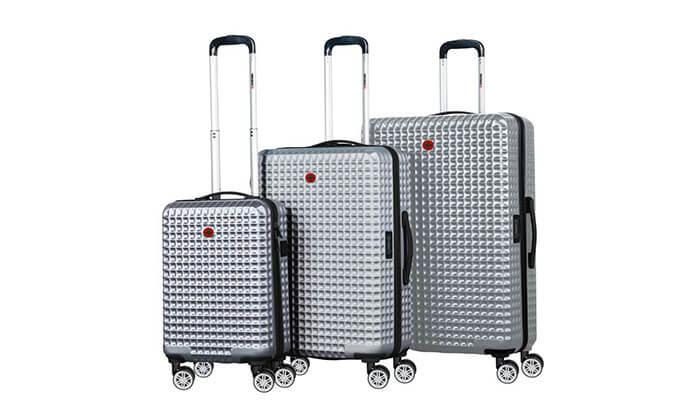 4 סט 3 מזוודות פוליקרבונט SWISS BAGS