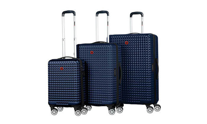 7 סט 3 מזוודות פוליקרבונט SWISS BAGS