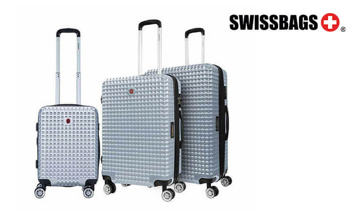 אדיר סט 3 מזוודות פוליקרבונט SWISS BAGS | גרו (גרופון) ZT-65
