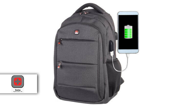2 תיק גב עם מטען USB סוויס Swiss