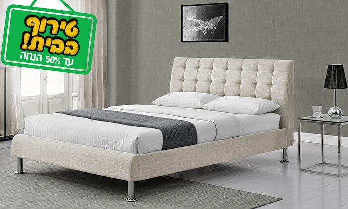 4 מיטה זוגית בריפוד בד HOME DECOR