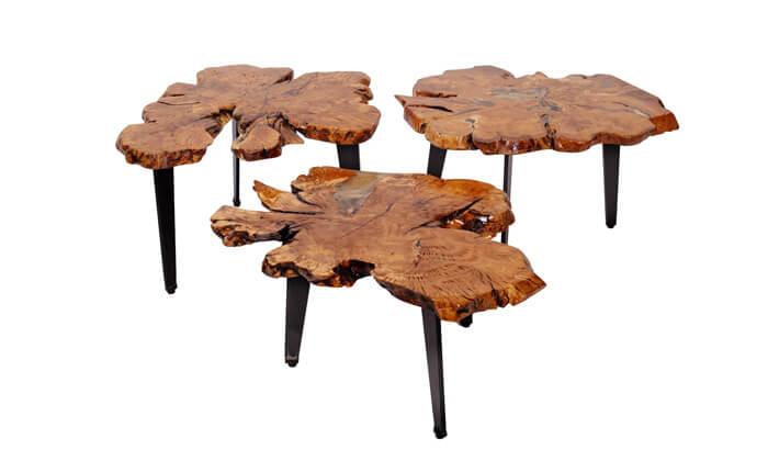 3 שולחן סלון מעץ זית