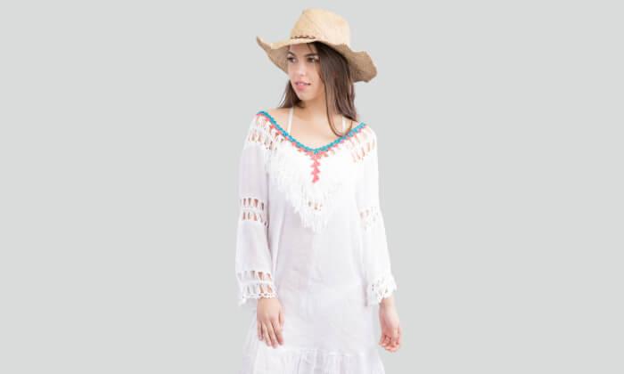 3 שמלת חוף בסריגת קרושה