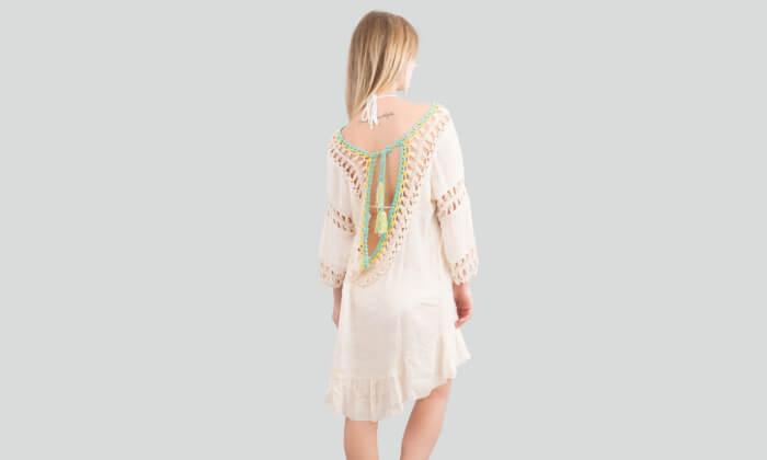 4 שמלת חוף בסריגת קרושה