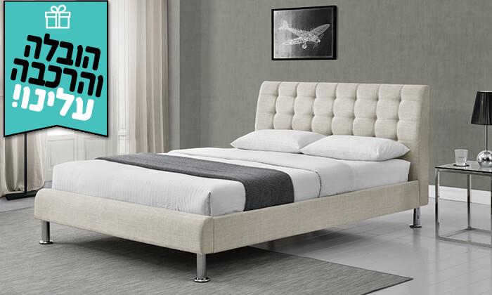 4 מיטה זוגית מרופדת HOME DECOR - הובלה והרכבה חינם!