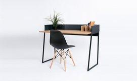 שולחן עבודה מעץ ומתכת