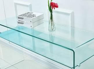 קונסולה מזכוכית עם מדף תחתון