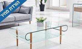 שולחן סלון מזכוכית עם רגלי עץ