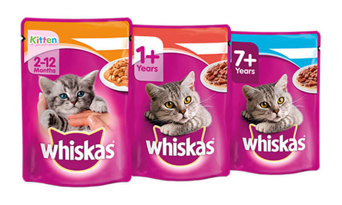 3 24 יחידות מעדן אוכל לחתולים Whiskas - משלוח חינם!