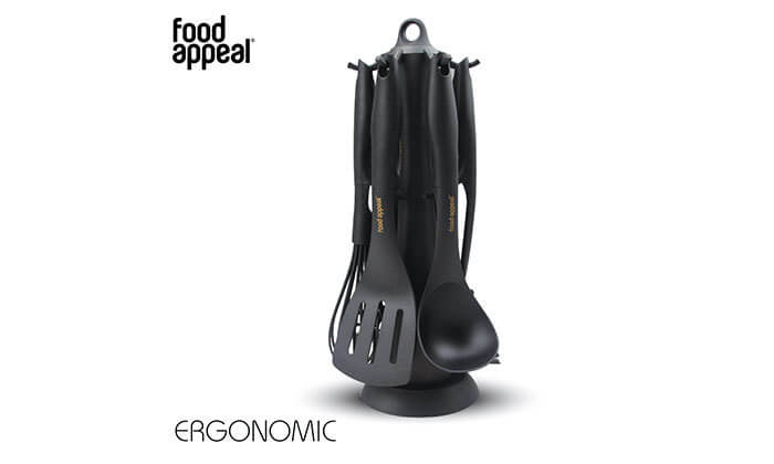 4 סט כלי ששת עם מעמד מסתובב FOOD APPEAL