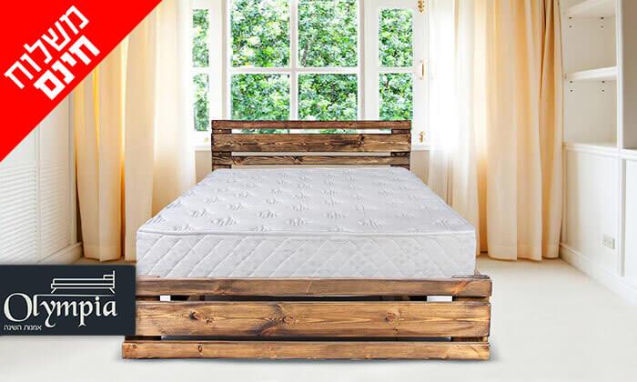 2 מיטה זוגית מעץ מלא עם מזרן אורתופדי - הובלה והרכבה חינם!