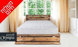מיטת עץ מלא עם מזרן אורתופדי