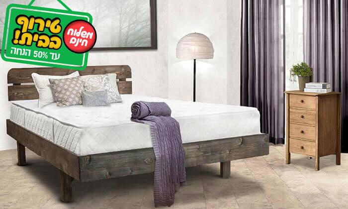 4 מיטה זוגית מעץ מלא - מזרן מתנה והובלה והרכבה חינם!
