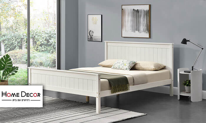 2 מיטה זוגית מעץ מלא HOME DECOR
