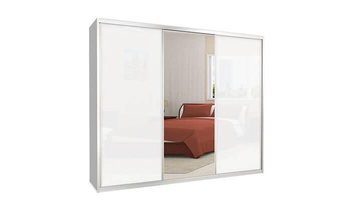 6  ארון הזזה כרמל, 3 דלתות זכוכית עם מראה