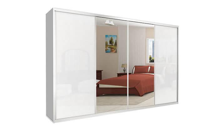 6 ארון הזזה כרמל, 4 דלתות זכוכית עם מראה