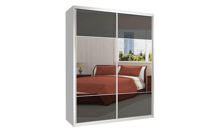 6 ארון הזזה כרמל 2 דלתות זכוכית בשילוב מראה