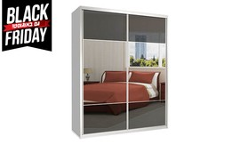 ארון הזזה 2 דלתות זכוכית ומראה