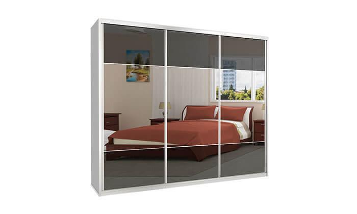 6 ארון הזזה כרמל 3 דלתות זכוכית בשילוב מראה