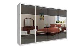 ארון הזזה 4 דלתות זכוכית ומראה
