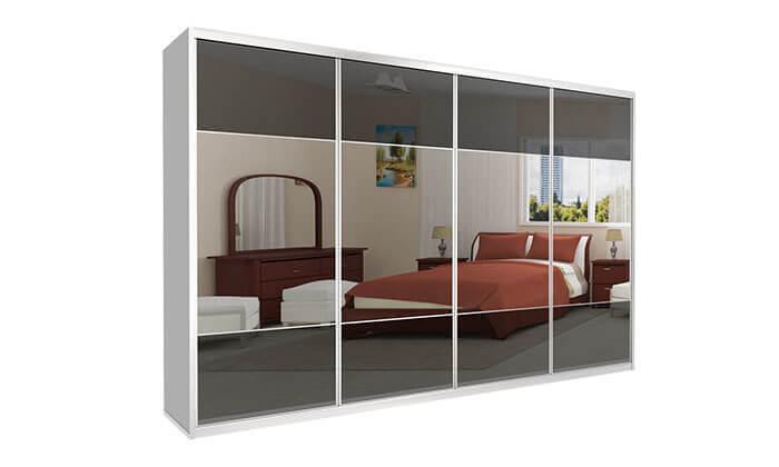 6 ארון הזזה כרמל 4 דלתות זכוכית בשילוב מראה